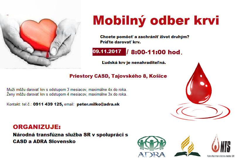 Mobilný odber krvi - November 2017