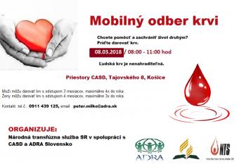 Mobilný odber krvi - marec 2018